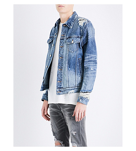 AMIRI Distressed stretch-denim jacket (Medium+indigo