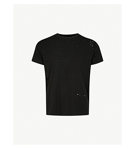 AMIRI Shotgun distressed-detail cotton-jersey T-shirt (Black