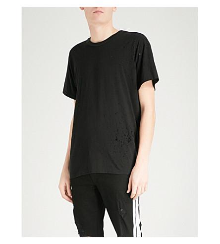 埃米尔猎枪心疼-详细的棉质平纹针织衫 t恤衫 (黑色