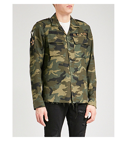 AMIRI Military regular-fit cotton and cashmere-blend shirt (Camo