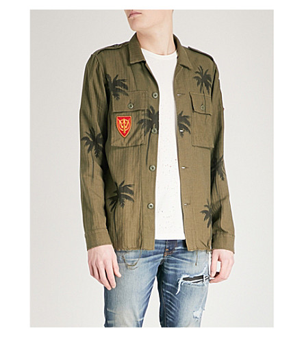 AMIRI Palm tree-print cotton and cashmere-blend shirt (Olive