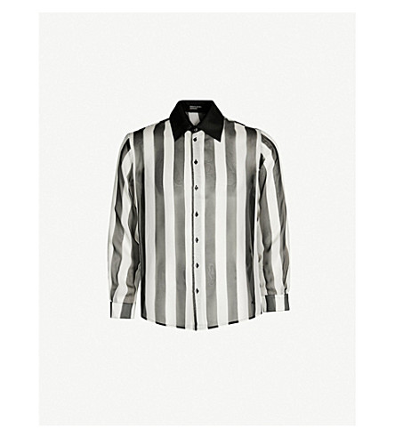 ENFANTS RICHES DEPRIMES Striped regular-fit silk-crepe shirt (Black+white