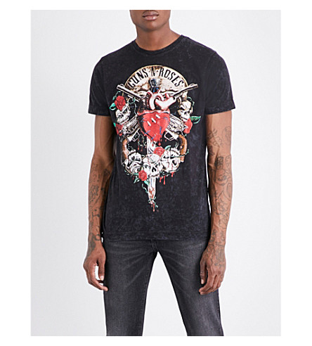 GUNS 'N' ROSES Bleeding Heart cotton-jersey T-shirt (Black