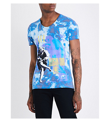GUNS 'N' ROSES Illusion tie-dye cotton-jersey T-shirt (Blue