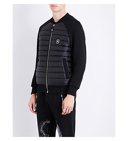 PHILIPP PLEIN Embellished-skull jersey and quilted jacket (Black