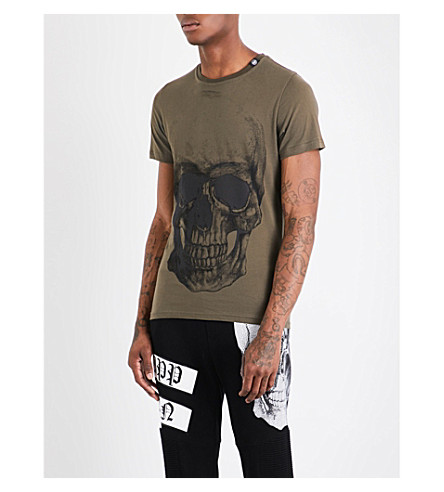 PHILIPP PLEIN Skull-print cotton-jersey T-shirt (Green