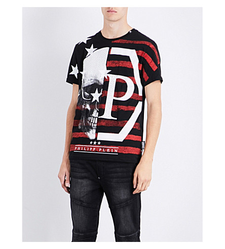 PHILIPP PLEIN Skull-embellished cotton T-shirt (Black