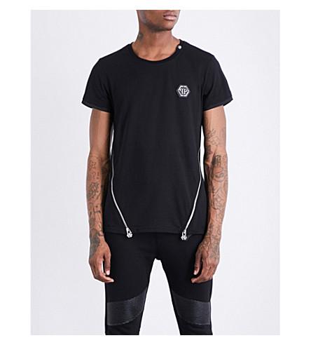 PHILIPP PLEIN Zip-detailed cotton-jersey T-shirt (Black