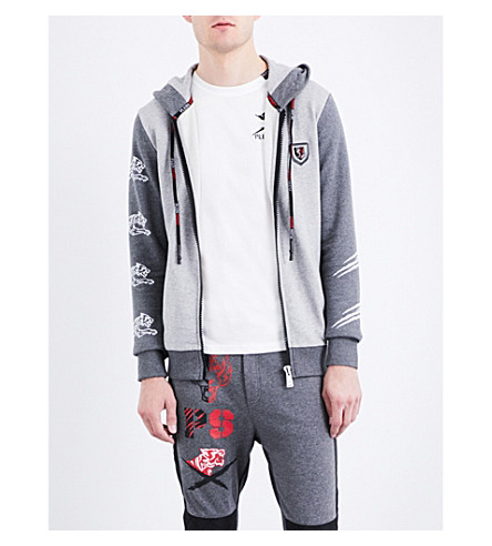PLEIN SPORT Tiger-print zotton zip-up hoody (Grey