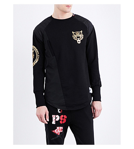 PLEIN SPORT Gold tiger cotton sweatshirt (Black/light+gold