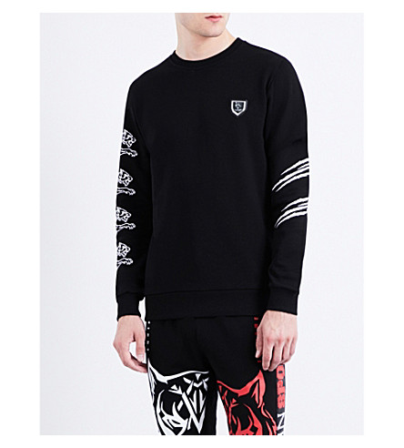 PLEIN SPORT Tiger-print cotton sweatshirt (Black