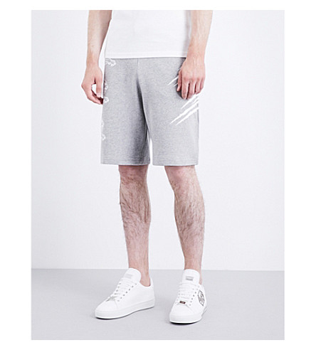 PLEIN SPORT Claw-print cotton-jersey shorts (Grey
