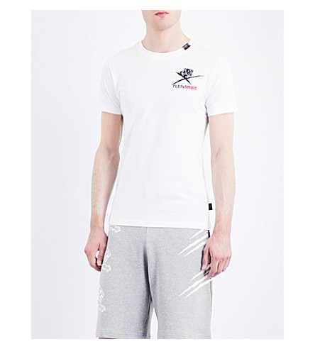 PLEIN SPORT Tiger-print cotton T-shirt (White
