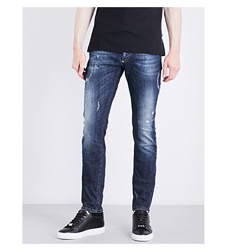 PHILIPP PLEIN Distressed slim-fit straight jeans (Blue