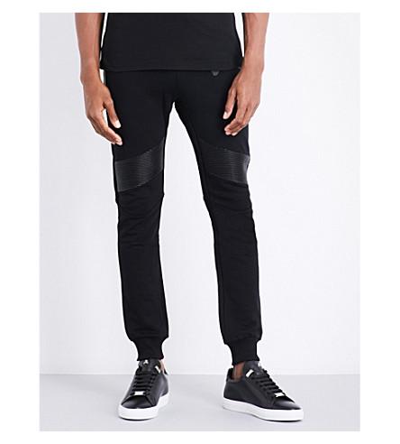 PHILIPP PLEIN Moto-detailed cotton jogging bottoms (Black