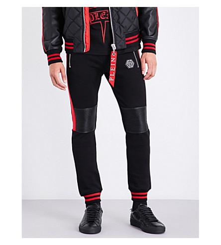 PHILIPP PLEIN Patch-detail cotton-jersey track pants (Black