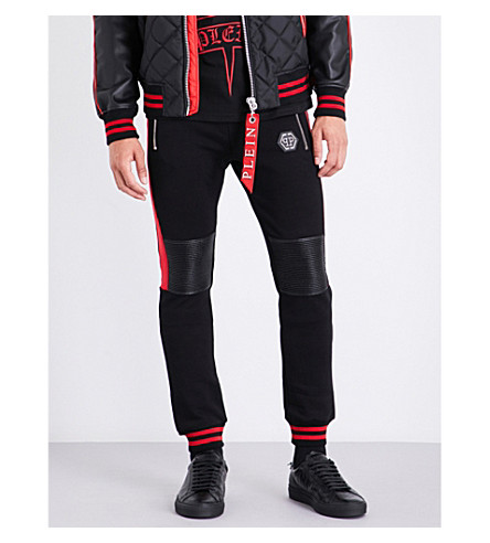 PHILIPP PLEIN Patch-detail cotton-jersey jogging bottoms (Black