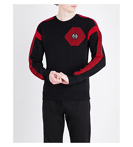 PHILIPP PLEIN Panelled wool jumper (Black+red
