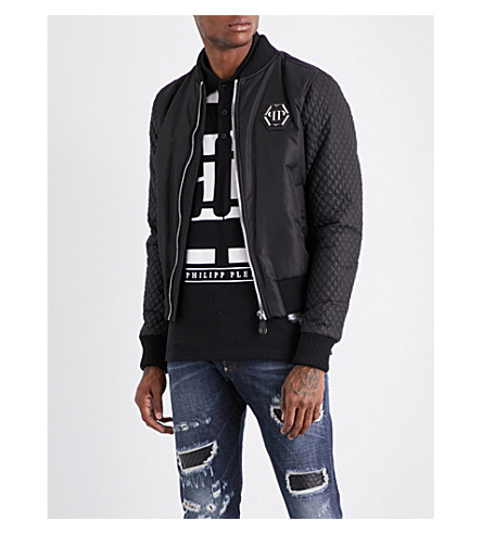 PHILIPP PLEIN Farran skull-applique shell jacket (Black