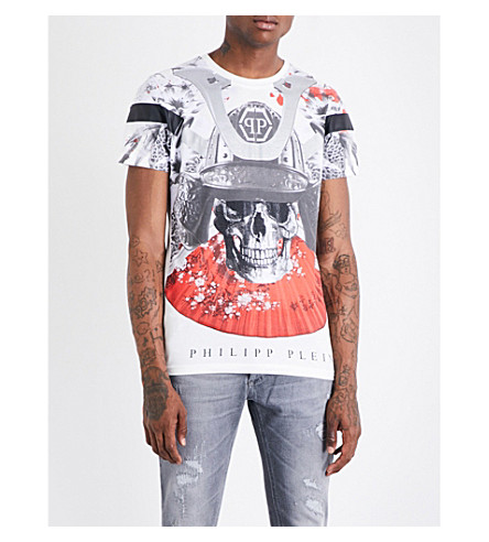 PHILIPP PLEIN Crystal-embellished skull-print T-shirt (White