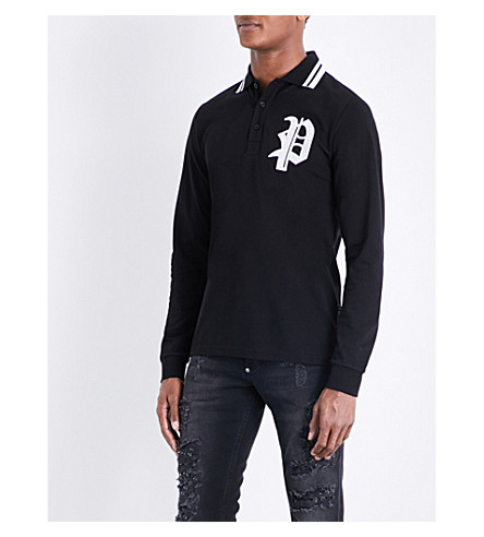 PHILIPP PLEIN Logo-embroidered cotton-piqué polo shirt (Black