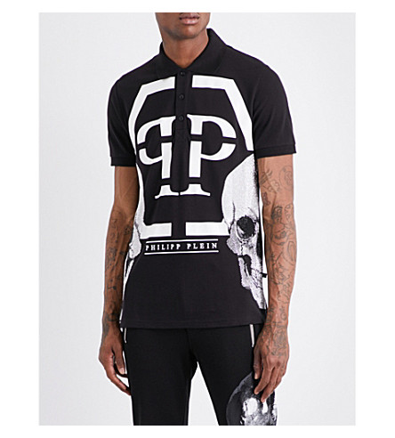 PHILIPP PLEIN Twin Skull cotton-piqué polo shirt (Black