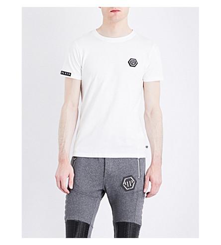 PHILIPP PLEIN Badge-detail cotton T-shirt (White