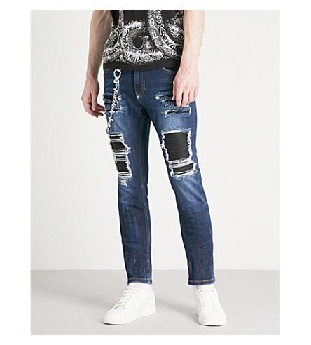 PHILIPP PLEIN Biker distressed slim-fit tapered jeans (Special+3