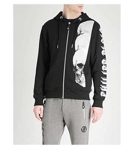 PHILIPP PLEIN Skull print cotton-jersey hoody (Black