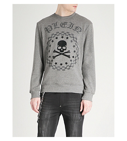 PHILIPP PLEIN Crystal-embellished jersey sweatshirt (Grey