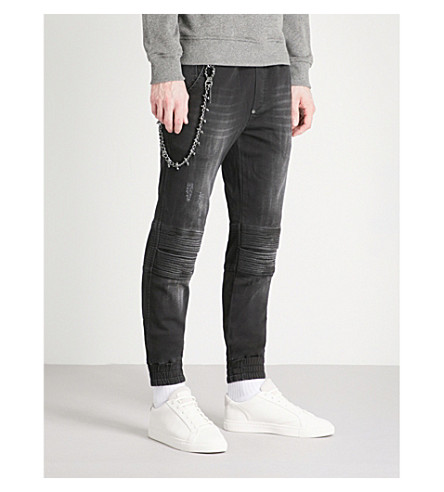 PHILIPP PLEIN Biker relaxed-fit skinny denim jogging bottoms (Diablo+black