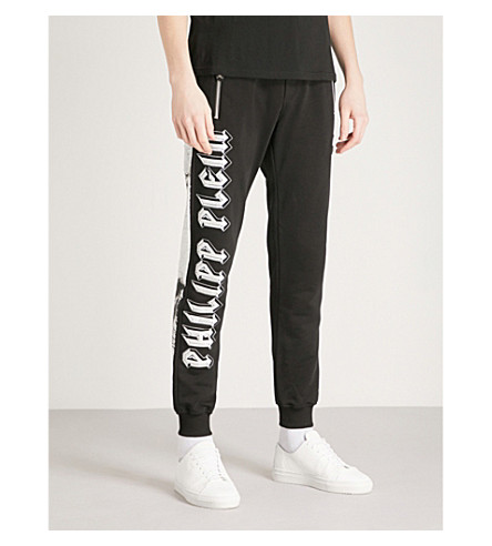 PHILIPP PLEIN Skull-embellished cotton-jersey jogging bottoms (Black
