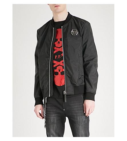PHILIPP PLEIN Tiger-print shell bomber jacket (Black
