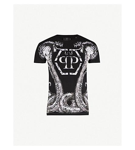 PHILIPP PLEIN Crystal-embellished cobra-print cotton-jersey T-shirt (Black+/white