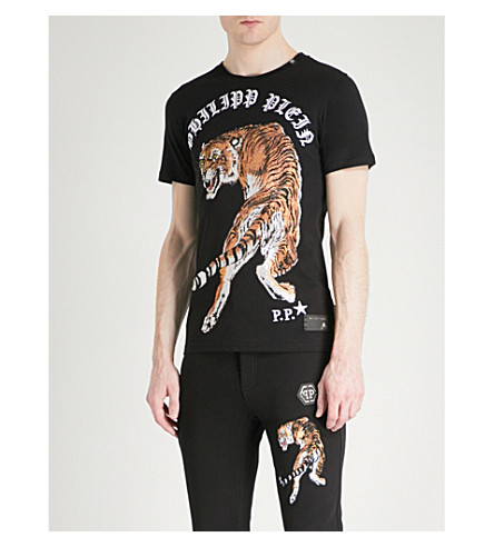 PHILIPP PLEIN Crystal-embellished tiger-print cotton-jersey T-shirt (Black