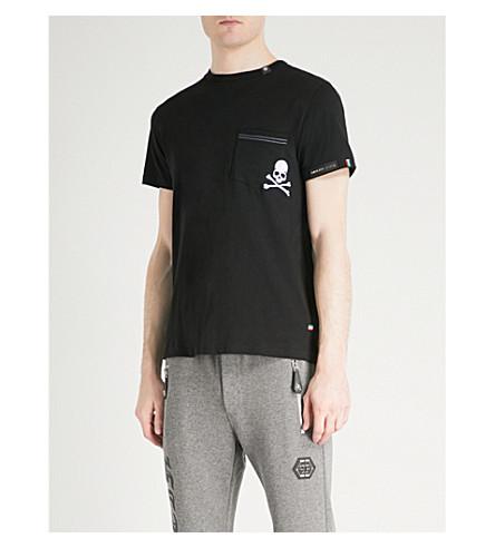 PHILIPP PLEIN Skull-embroidered cotton-jersey T-shirt (Black+white