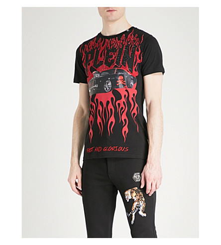 PHILIPP PLEIN Flame and car-print cotton-jersey T-shirt (Black