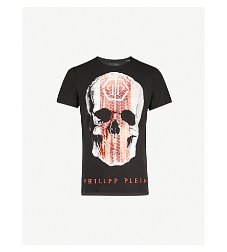 PHILIPP PLEIN Skull and tyre-print cotton-jersey T-shirt (Black