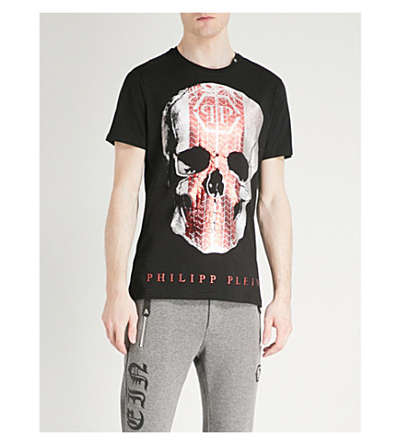 PHILIPP PLEIN Skull and tyre-print cotton-jersey T-shirt (Black