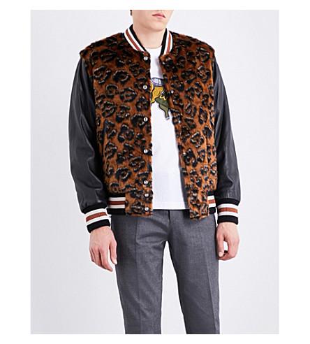 COACH Leopard faux-fur varsity jacket (Mocha