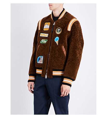 COACH Badge-detailed shearling varsity jacket (Light+toffee/toffee