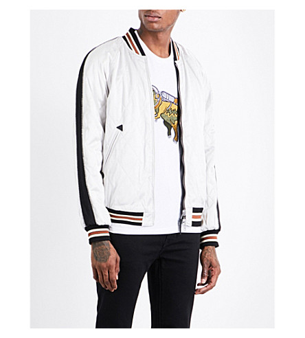COACH Souvenir ft stooges satin bomber jacket (Black/light+granite