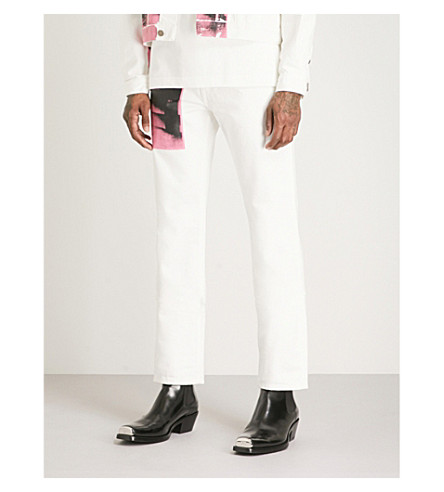CALVIN KLEIN 205W39NYC Andy Warhol print relaxed-fit straight jeans (White