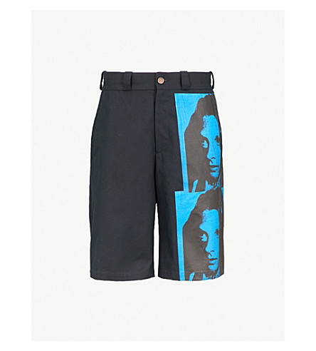 CALVIN KLEIN 205W39NYC Andy Warhol print wide-leg cotton-twill shorts (Navy