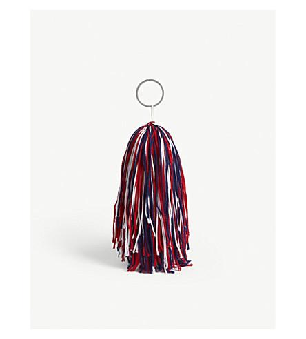 CALVIN KLEIN 205W39NYC Multi-coloured string pompom keyring (White