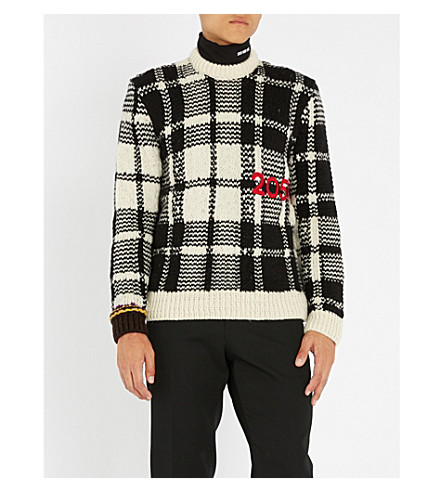 CALVIN KLEIN 205W39NYC 格纹针织羊毛毛衣 (黑 + 棕
