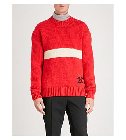 CALVIN KLEIN 205W39NYC Logo-embroidered wool jumper (Red+ivor
