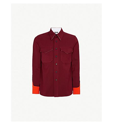 CALVIN KLEIN 205W39NYC Colour-blocked Western regular-fit cotton-twill shirt (Orange