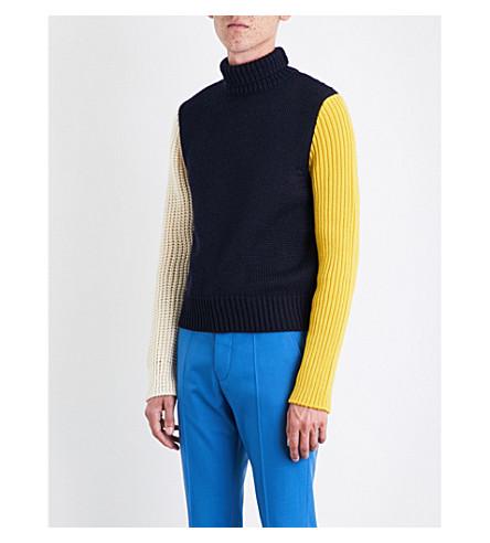 CALVIN KLEIN 205W39NYC Contrast-panel turtleneck wool-blend jumper (Navy