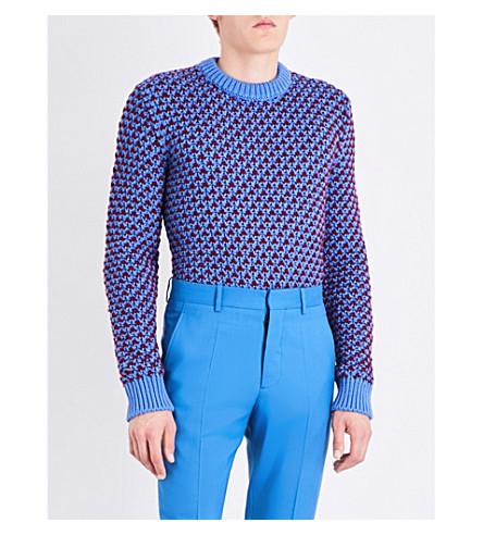 CALVIN KLEIN 205W39NYC Jacquard wool-blend jumper (Steel+blue+burgundy